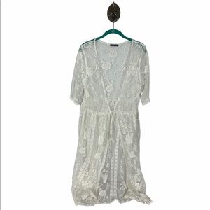 Mind Code White Sheer Lace Overlay Duster